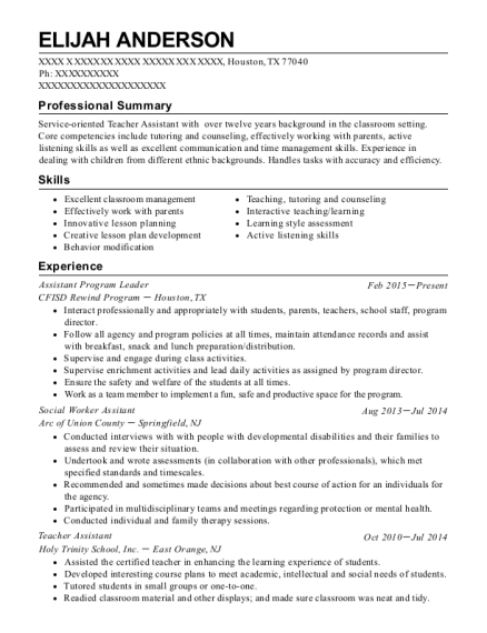 Assistant Program Leader resume format Texas