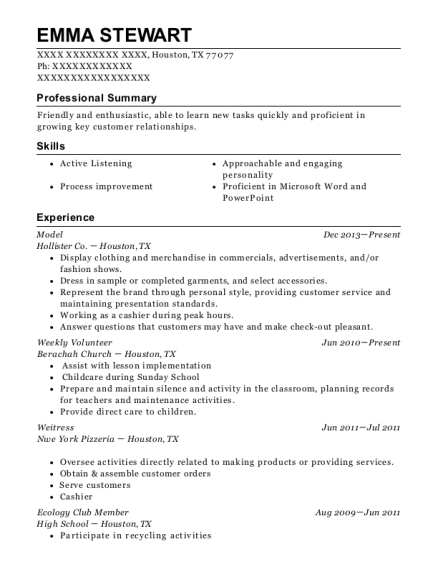 Model resume template Texas