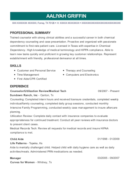 Counselor resume example Texas