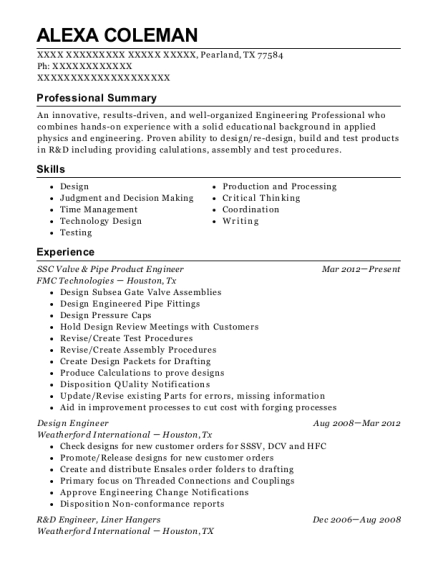 SSC Valve & Pipe Product Engineer resume example Texas