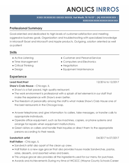 Lead Host resume sample Texas