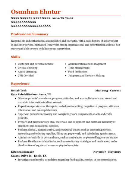 Rehab Tech resume format Texas