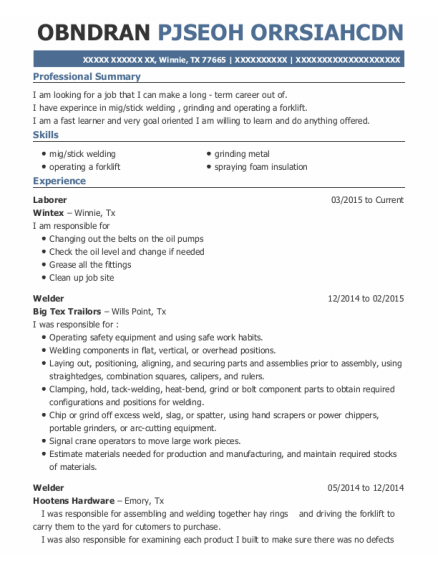 Laborer resume example Texas