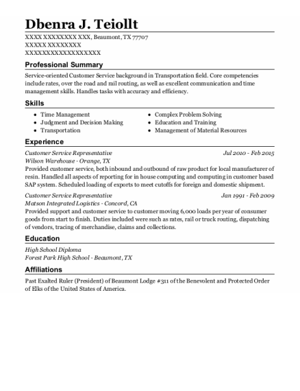 Customer Service Representative resume sample Texas