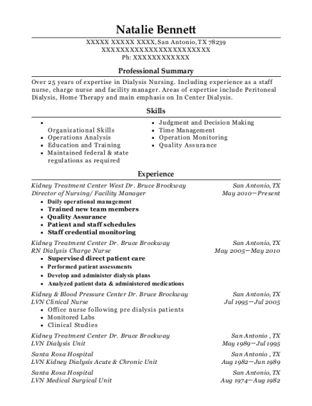 Director of Nursing resume format Texas