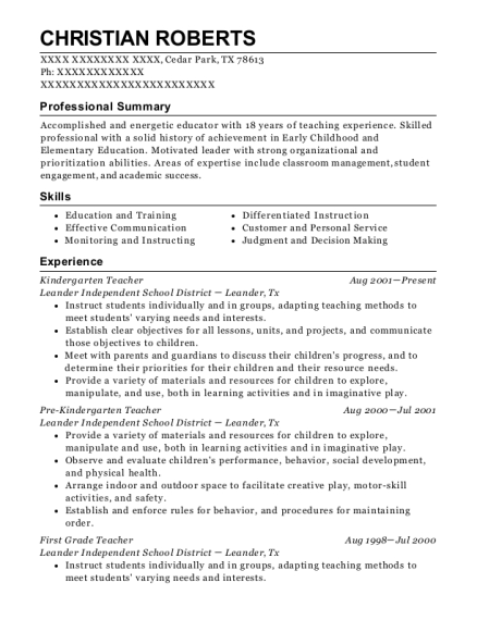 Kindergarten Teacher resume template Texas