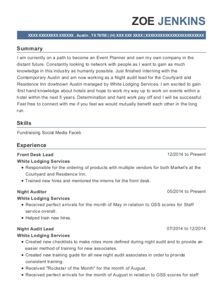 Front Desk Lead resume template Texas