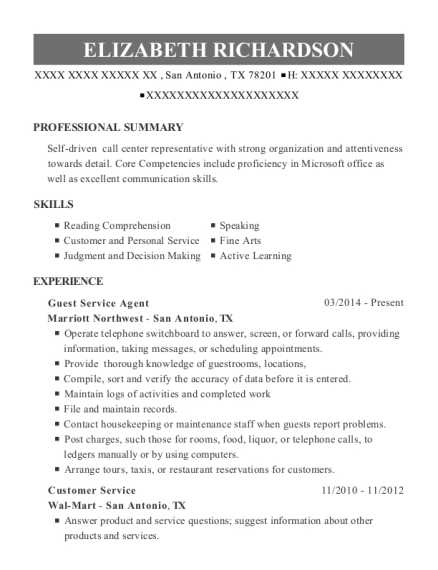 Guest Service Agent resume template Texas