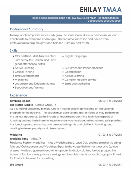 Tumbling Coach resume format Texas