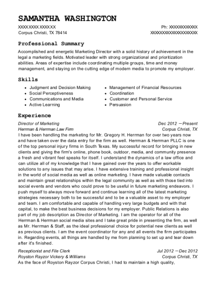 Director of Marketing resume format Texas