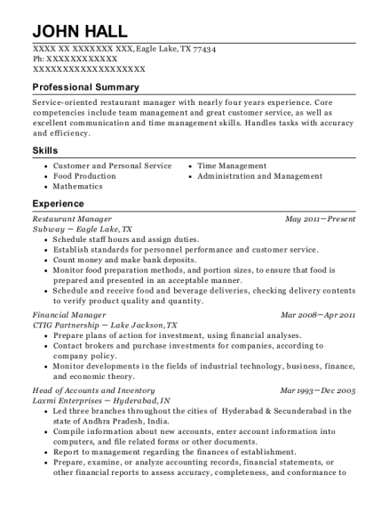 Cici Pizza Restaurant Manager Resume Sample Lebanon