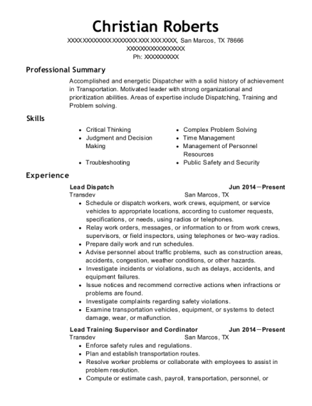 Lead Dispatch resume format Texas