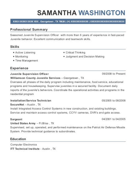 Juvenile Supervision Officer resume template Texas
