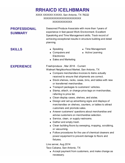 Fresh Food Manager resume template Texas
