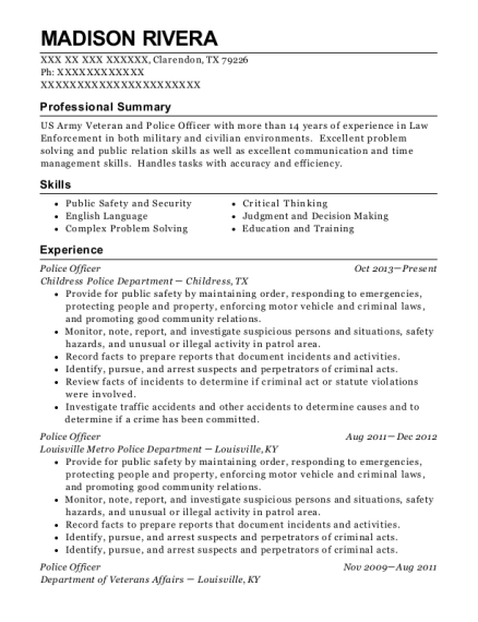 Police Officer resume template Texas