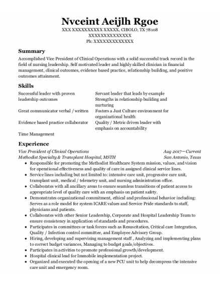 Chief Operations Officer resume example Texas