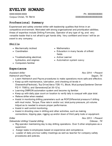 Assistant driller resume sample Texas