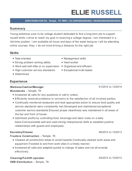 Waitress resume template Texas