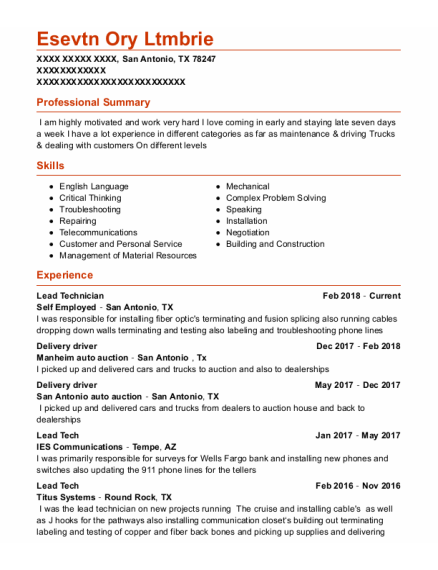 Delivery Driver resume format Texas