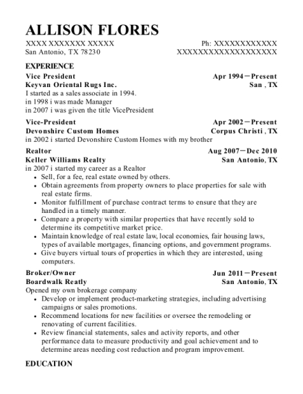 Vice President resume example Texas