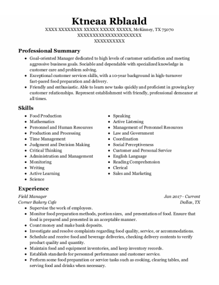 Field Manager resume example Texas