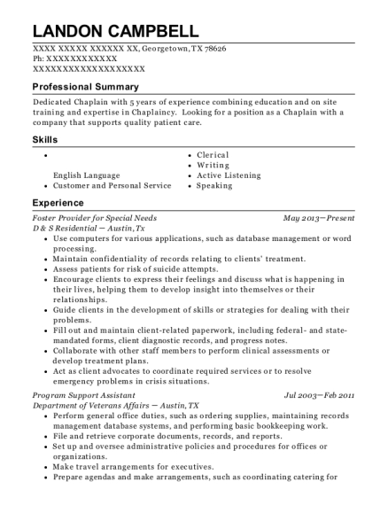 Foster Provider for Special Needs resume example Texas