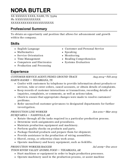 CUSTOMER SERVICE AGENT resume example Texas