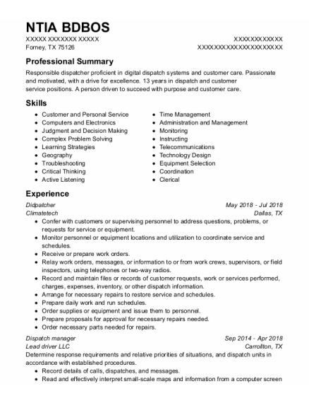 Dispatch Manager resume sample Texas