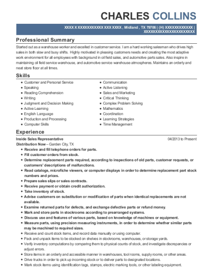 Inside Sales Representative resume template Texas