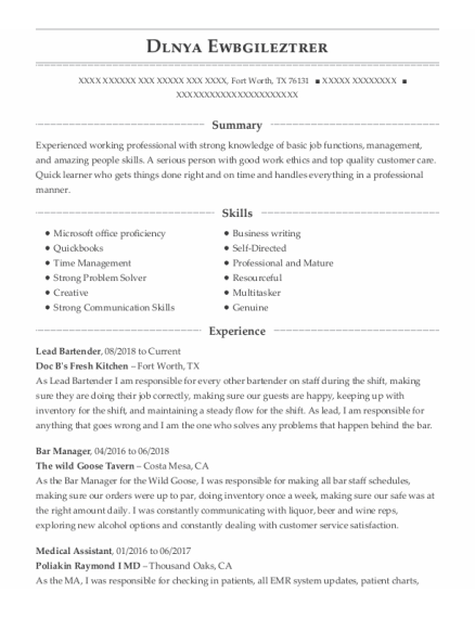 Lead Bartender resume example Texas