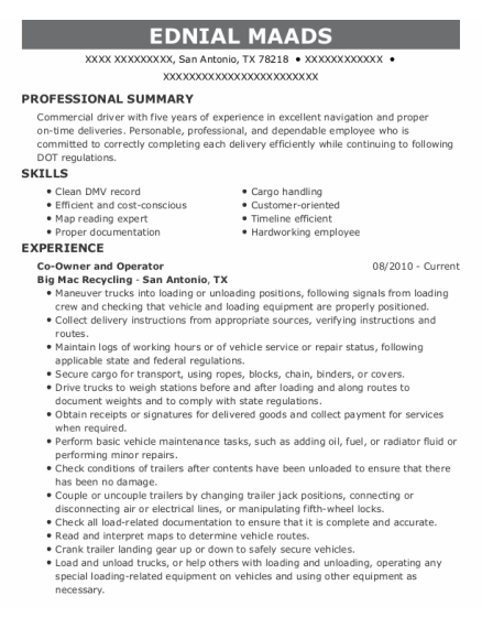 Delivery Driver resume template Texas