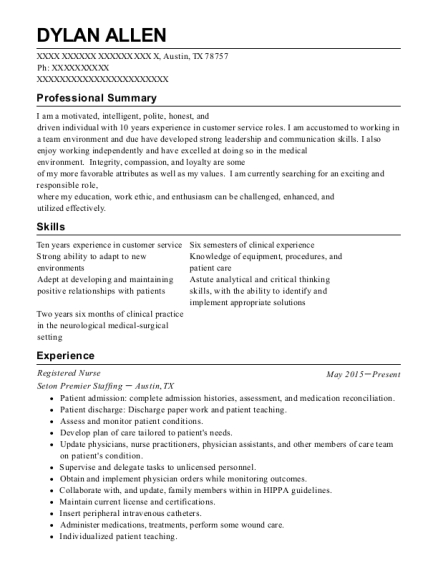 Registered Nurse resume format Texas