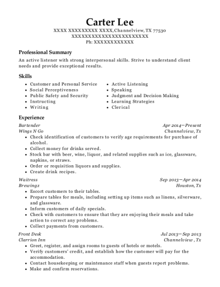 Bartender resume template Texas