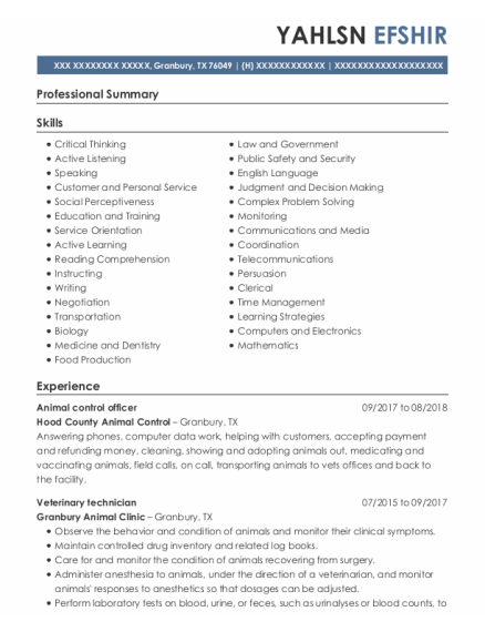 Animal Control Officer resume format Texas