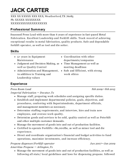 Press Room Lead resume format Texas