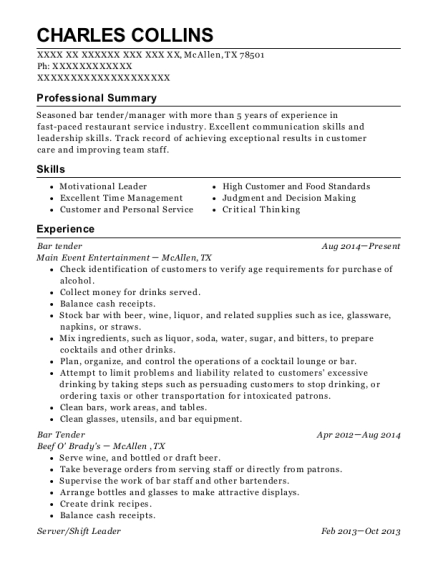 Bar tender resume template Texas