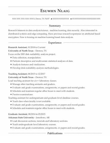 Research Assistant resume template Texas