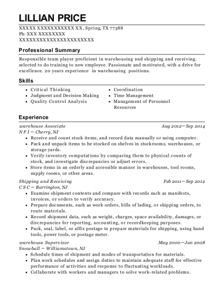 Warehouse Associate resume sample Texas