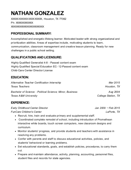 Early Childhood Center Director resume template Texas