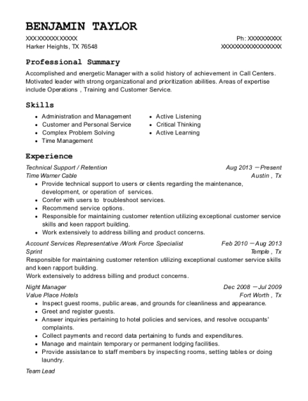 Technical Support resume example Texas