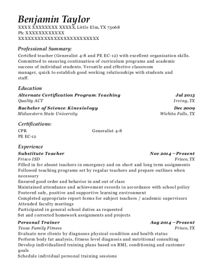 Substitute Teacher resume template Texas