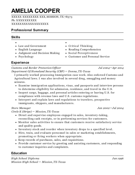Customs and Border Protection Officer resume example Texas