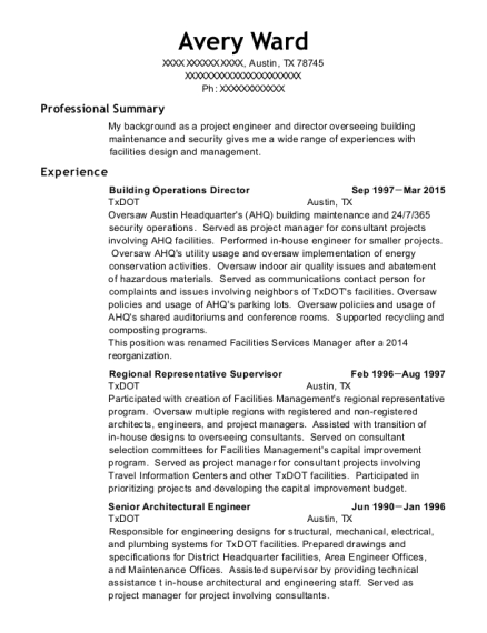 Building Operations Director resume sample Texas