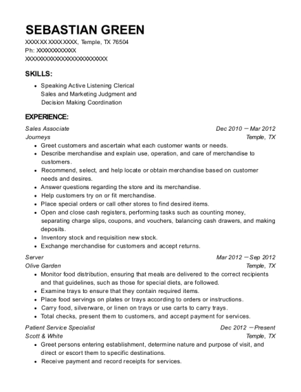 Sales Associate resume sample Texas
