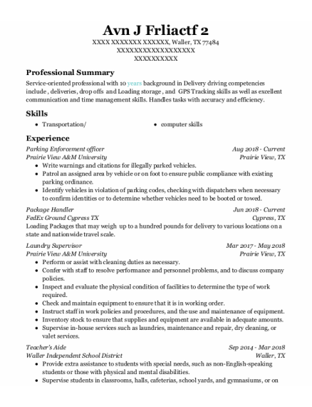 Parking Enforcement Officer resume format Texas