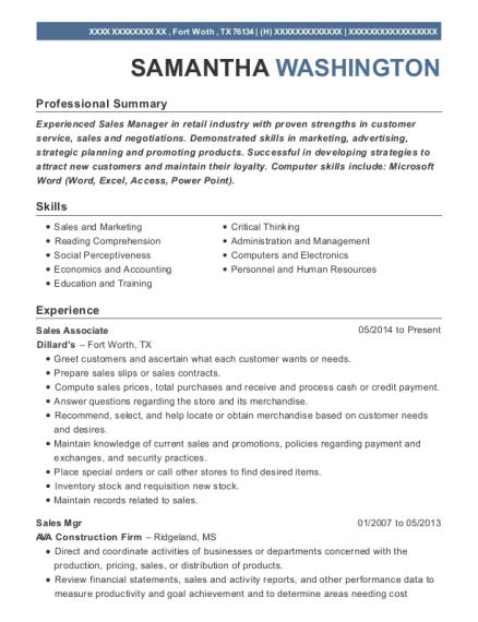 Sales Associate resume format Texas