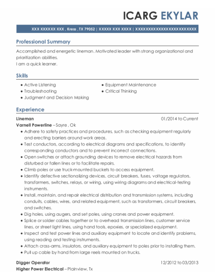 Lineman resume format Texas