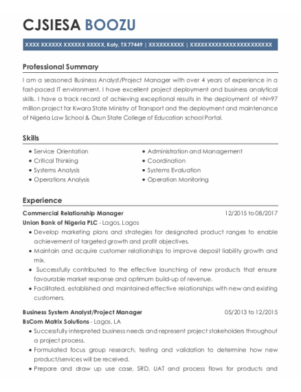 Business System Analyst resume format Texas