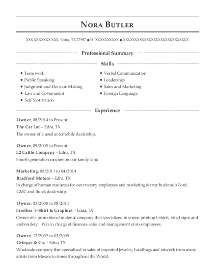 Owner resume format Texas