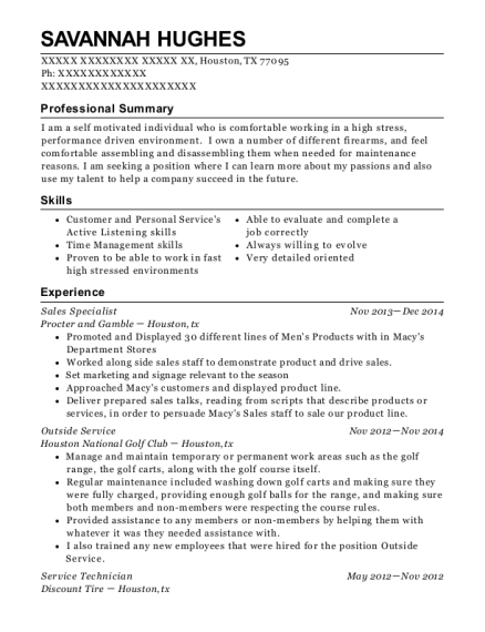 Sales Specialist resume example Texas